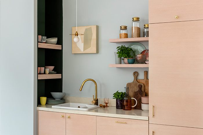 room set image of a kitchen showing metallic accessories