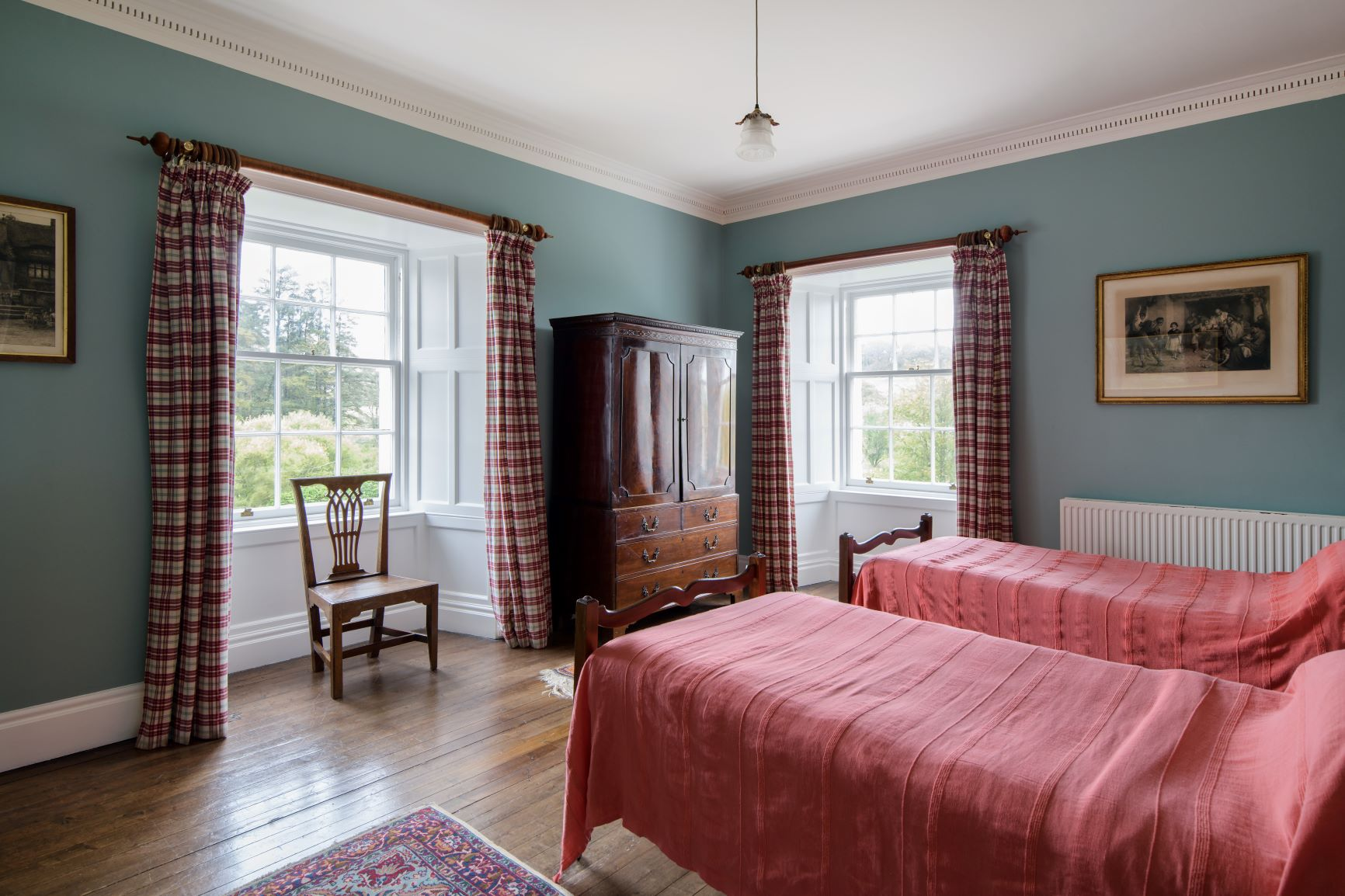 Twin bedroom featuring Craig & Rose Morris blue